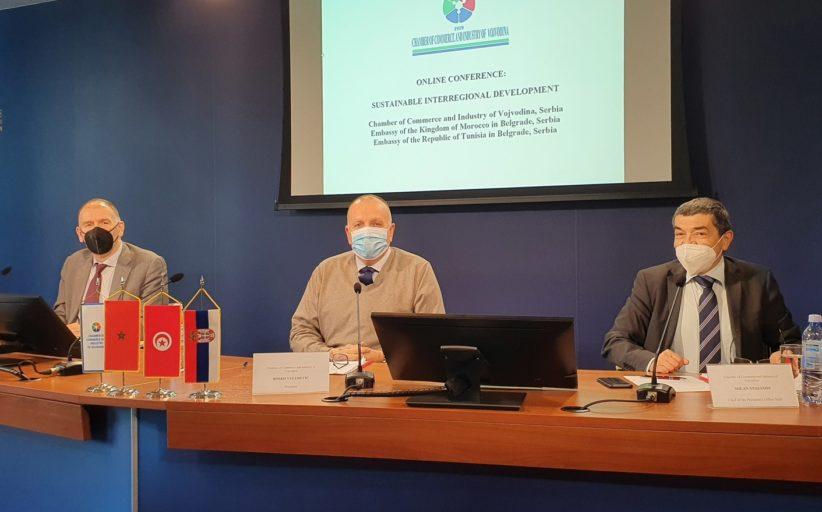 """Онлајн конференција """" Одрживи међурегионални развој""""- Привредна комора Војводине, Амбасада Краљевине Мароко , Амбасада Републике Тунис"""